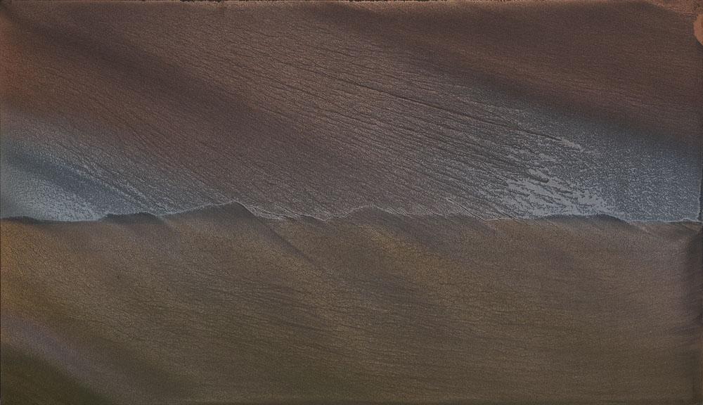 Dune mosse_2019_polvere di bronzo alluminio e rame su carta abrasiva su tela_80x140cm