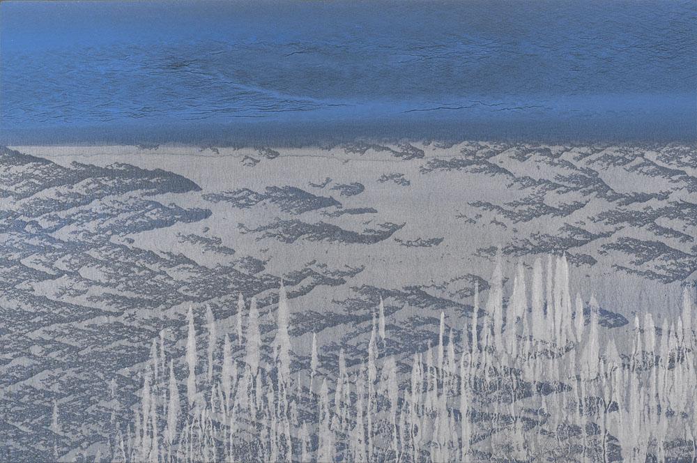 """""""E come portati via si rimane"""" 2019, olio e polvere di alluminio su carta abrasiva su tela, 40 x 60 cm"""