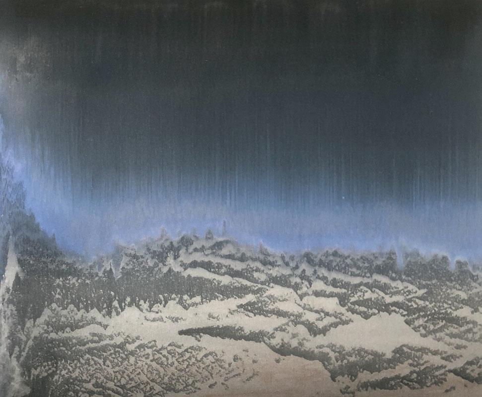 """""""Forse un mattino andando in un'aria di vetro"""" 2019, polvere di bronzo alluminio e rame su carta abrasiva su tela, 42 x 52 cm"""