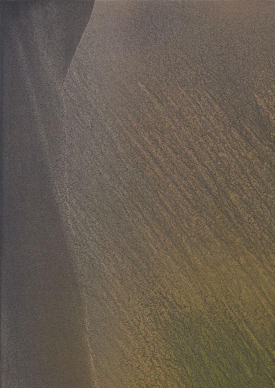 Piccolo paesaggio in cerca di grazia_2019_olio e polvere di bronzo e alluminio su carta abrasiva su tela_53x74.5cm