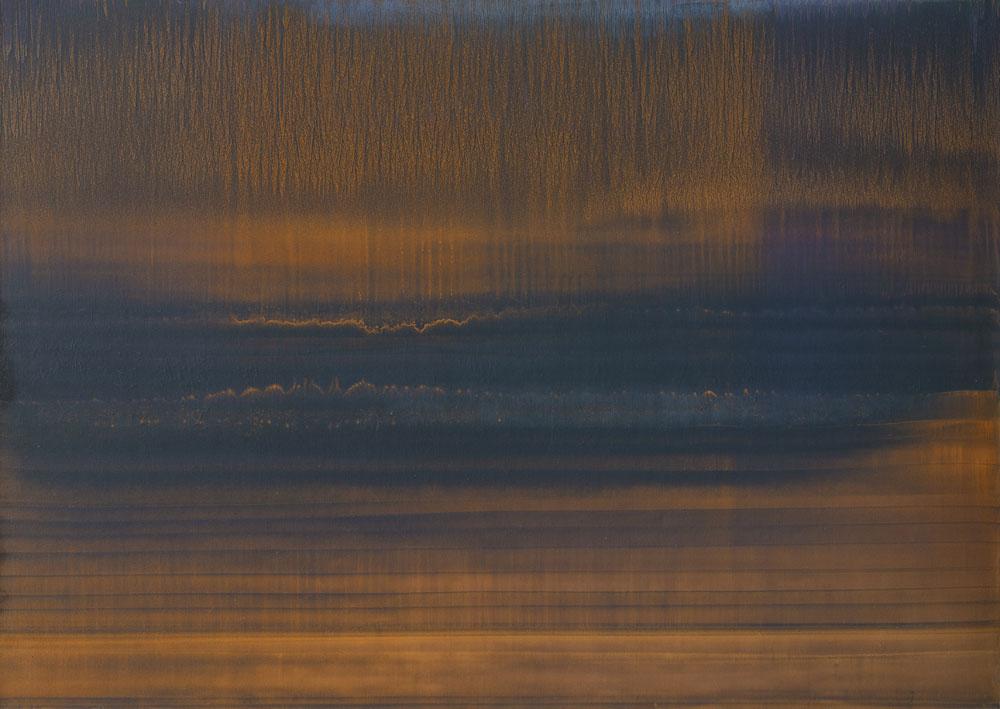 Soglia_2019_olio e polvere di bronzo su carta abrasiva su tela_100x142cm