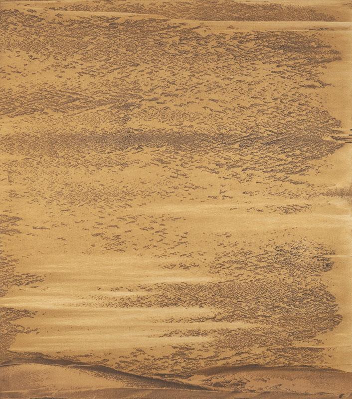 """""""Tornando a noi"""" 2019, polvere di alluminio bronzo e rame su carta abrasiva su tela, 142 x 124 cm"""