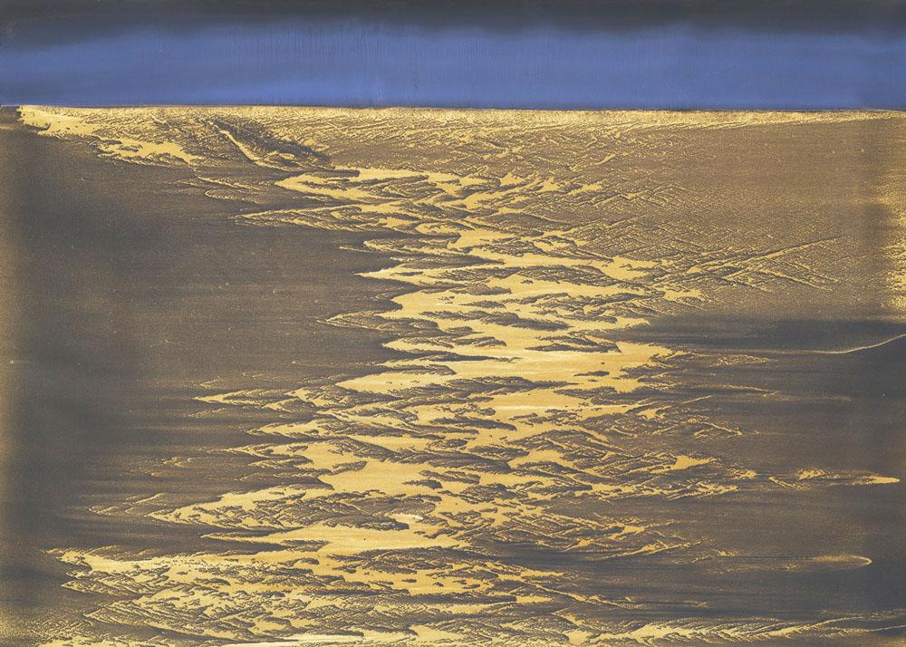 Unmooring_2019_olio e polvere di bronzo su carta abrasiva su tela_142 x 200 cm