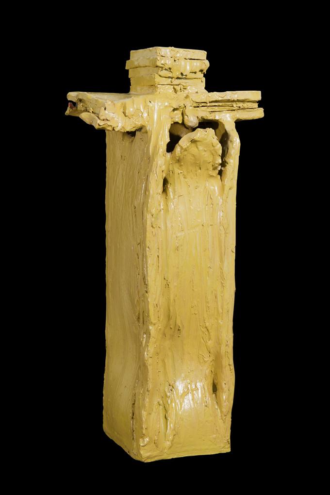 """""""Crocefissione"""" 1998, ceramica verde acido realizzata a Faenza presso Laboratorio Gatti, 20 x 17 x 65 cm"""