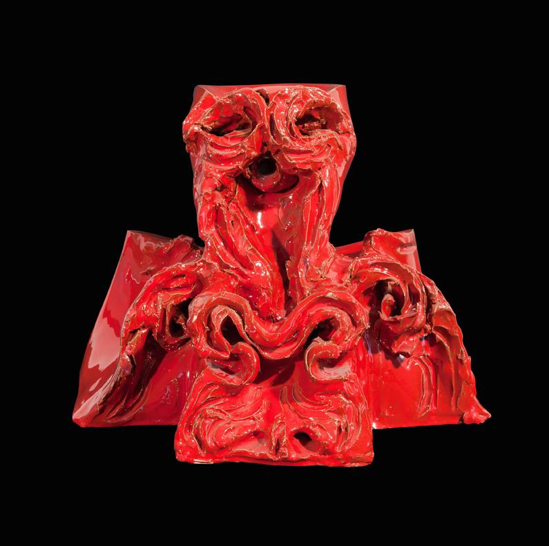 """""""Senza titolo"""" ceramica rossa realizzata a Faenza presso Laboratorio Gatti, 32 x 33 x 37 cm"""