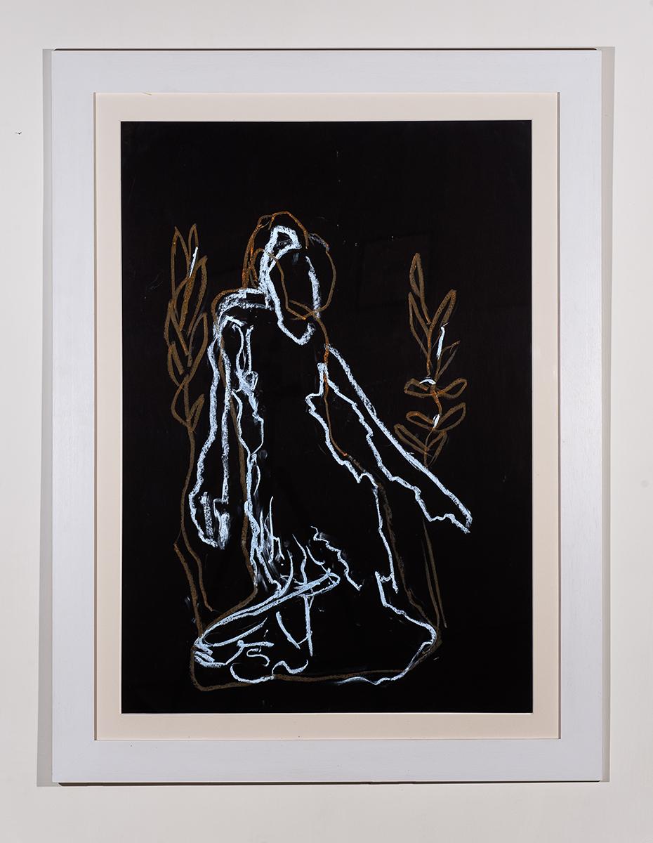 """""""Senza titolo"""" 1994, gessetto su carta nera, 100 x 70 cm"""