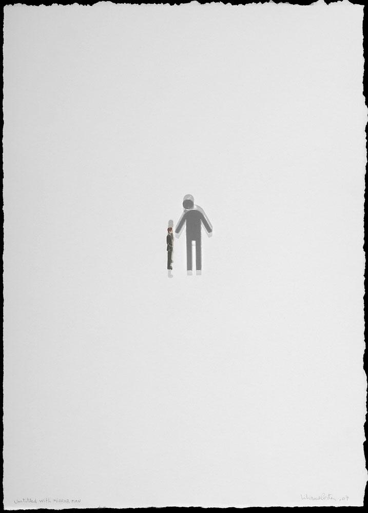 """Untitled with Mirror Man"" 2007, oggetti vari su carta, 15 x 11 cm"