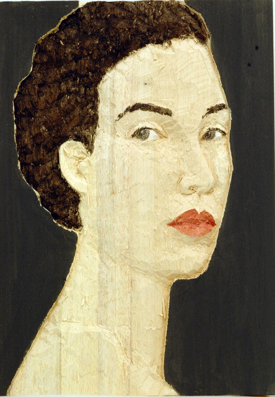 """""""Senza titolo"""" 2008, bassorilievo su legno wawa dipinto, 60 x 42 cm"""