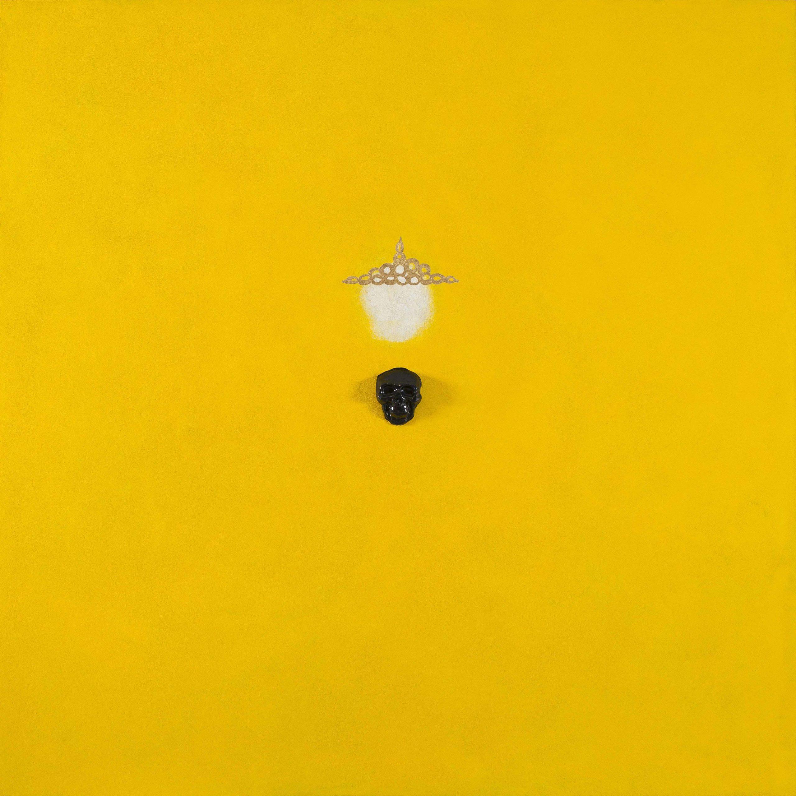 """""""Arabiamia"""" 2013, pittura ad olio, ceramica ed olio zecchino su affresco, 180 x 180 cm"""