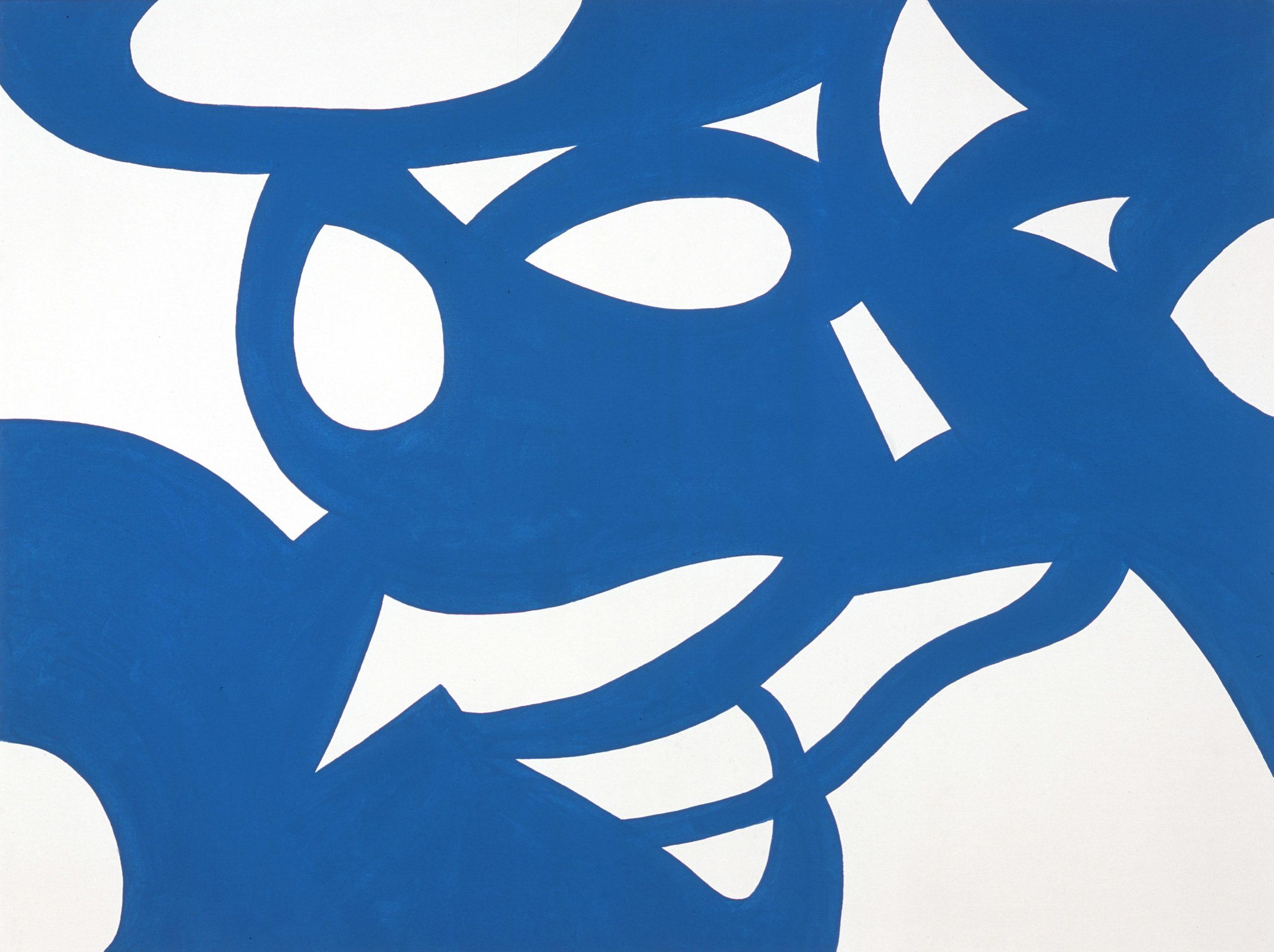 """Onde blu"" 2008, vinilico su tela, 120 x 160 cm"