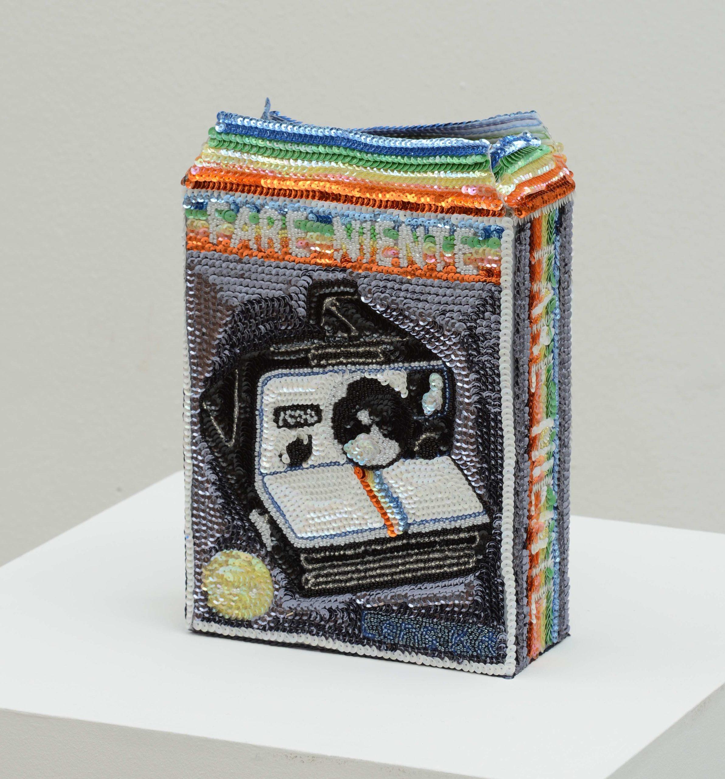 """""""Polaroid flowerpot fare niente"""" 2012-15, paillettes cucite a mano su tela, ferro e smalto, 25 x 19 x 8 cm"""