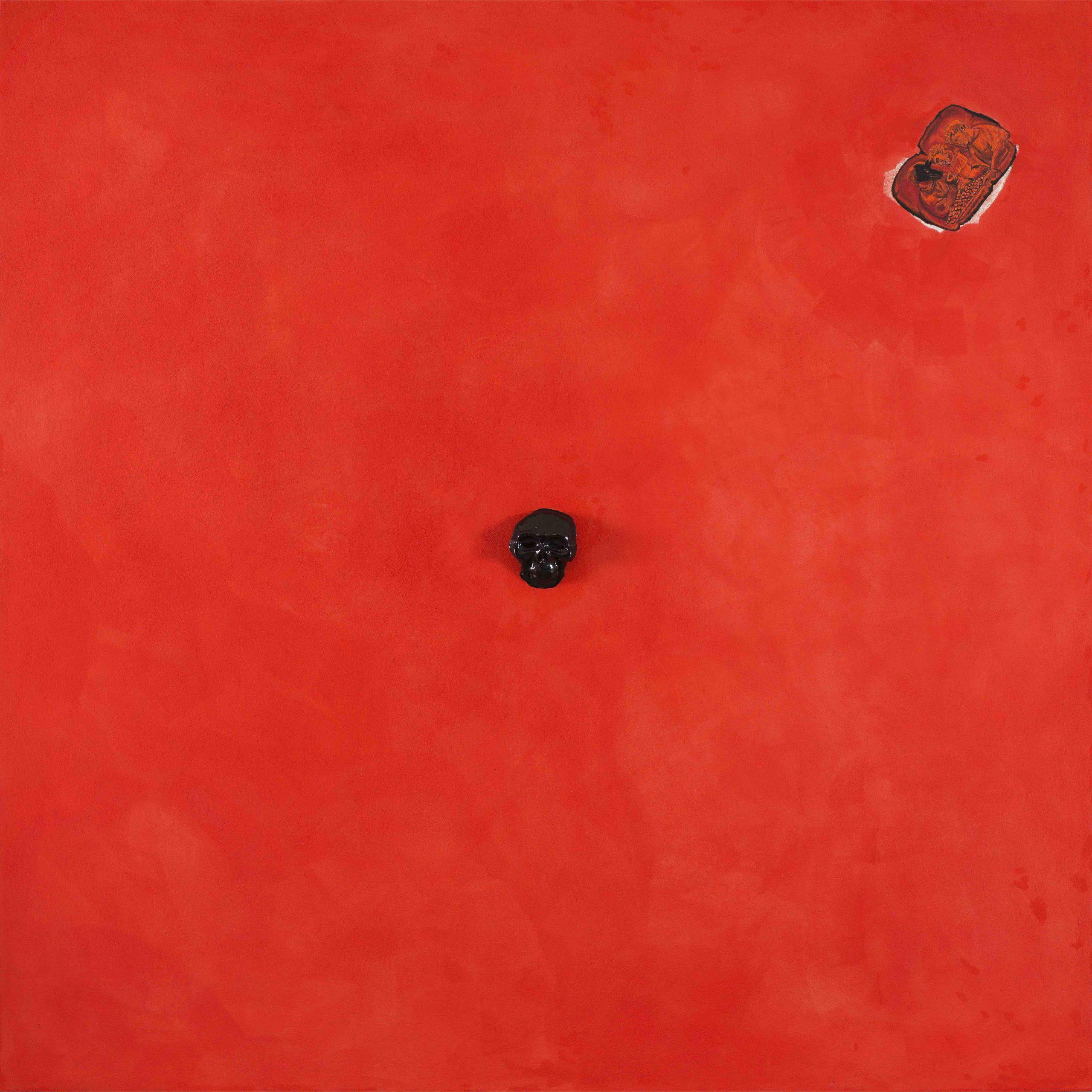"""""""Le Marche"""" 2013, pittura ad olio e ceramica su affresco, 180 x 180 cm"""