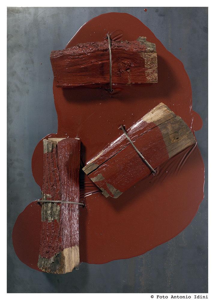 """""""Senza titolo"""" 2006, tecnica mista su ferro, 73 x 104 x 12 cm"""