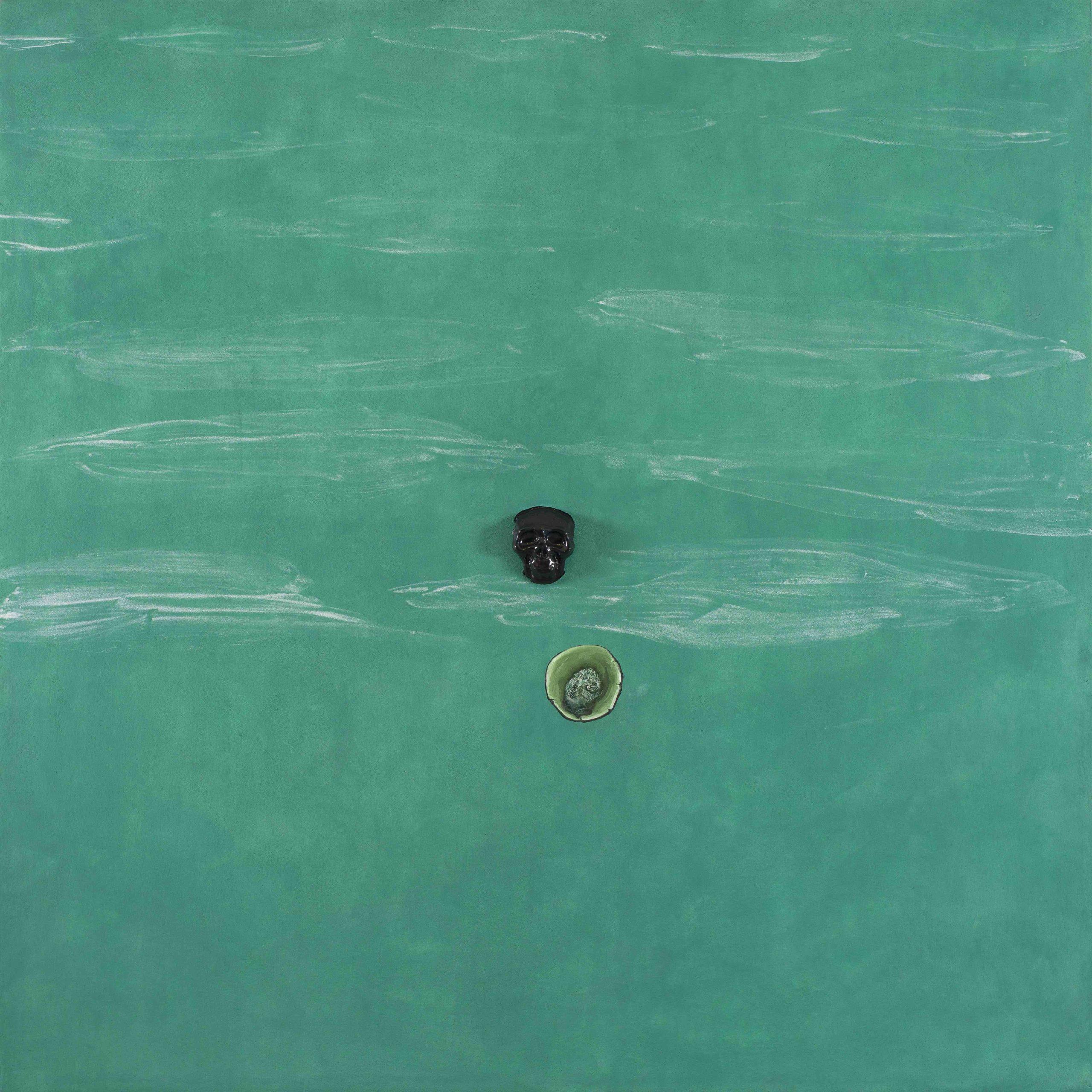 """Porco Giove"" 2013, pittura ad olio e ceramica su affresco, 180 x 180 cm"