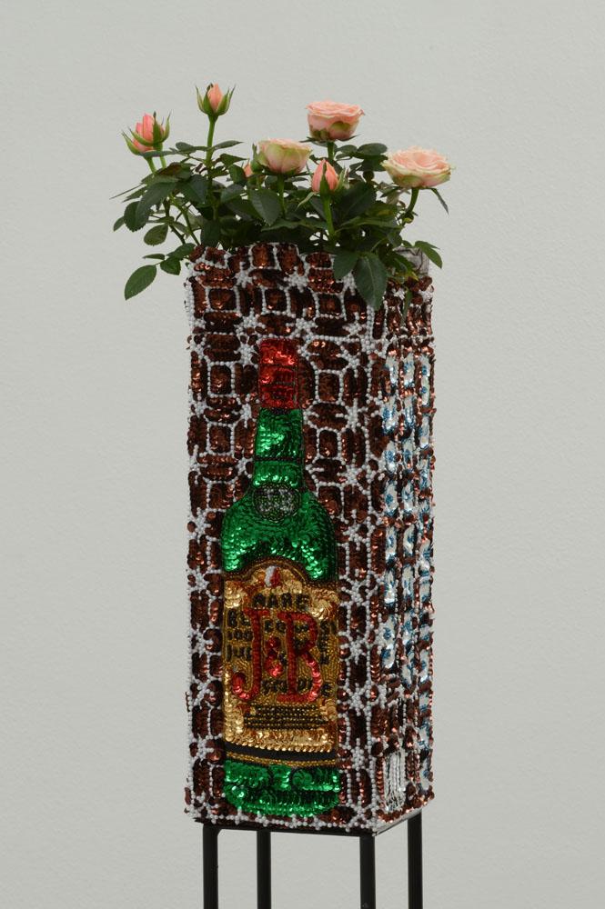 """J&B flowerpot enjoy before dishonor"" 2012-15, paillettes cucite su tela, ferro, smalto, 32 x 13 x 13 cm"