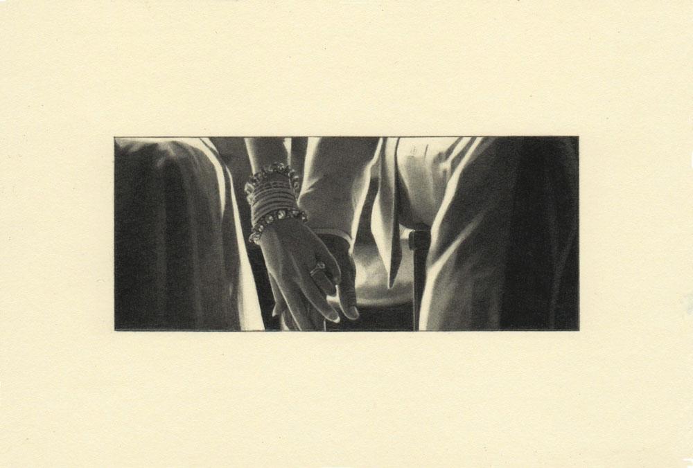 """""""Entwine, Gatsby 2"""" 2014, matita su carta, 4.2 x 9.9 cm senza bordo e 10 x 14.8 cm con bordo"""