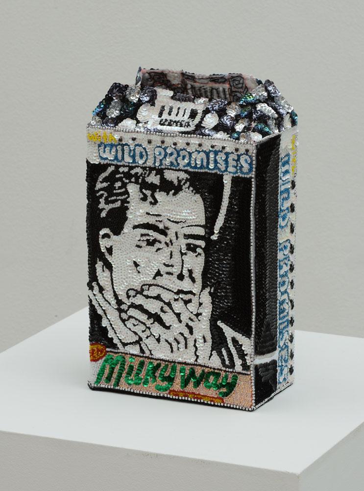 """""""Milky way flowerpot with wild promises"""" 2012-15, paillettes cucite a mano su tela, ferro e smalto, 27,5 x 18,5 x 11 cm"""
