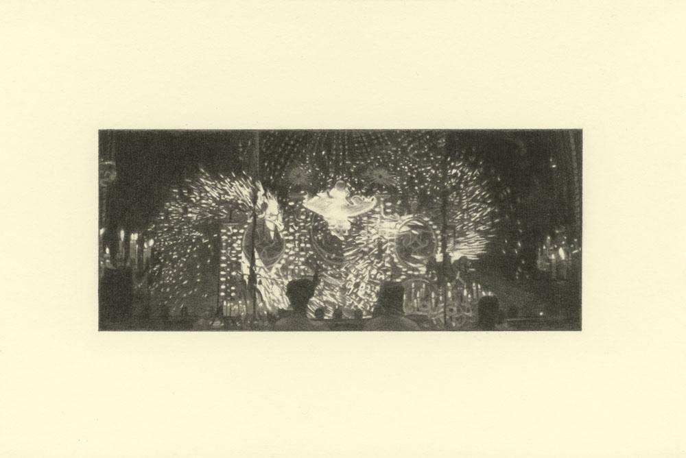 """""""Fireworks, Gatsby 2"""" 2014, matita su carta, 4.2 x 9.9 cm senza bordo e 10 x 14.8 cm con bordo"""