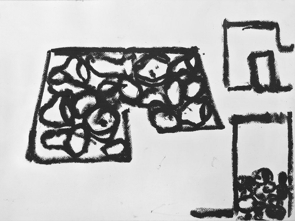 """""""Senza titolo"""" 2006, catrame su carta, 48.5 x 65 cm"""