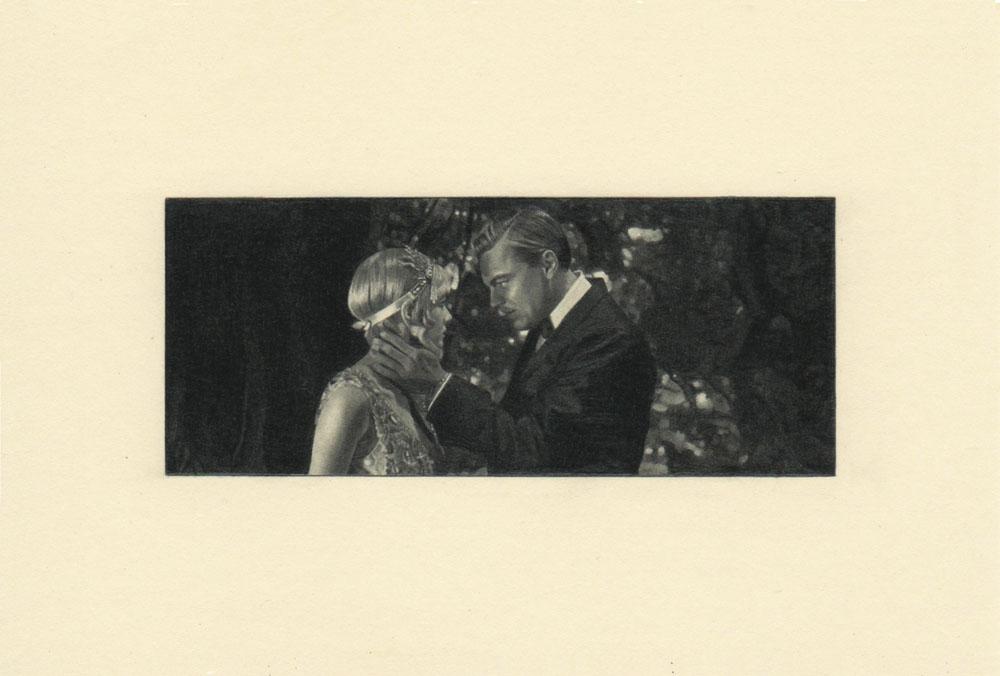 """""""Forest, Gatsby 2"""" 2014, matita su carta, 4.2 x 9.9 cm senza bordo e 10 x 14.8 cm con bordo"""