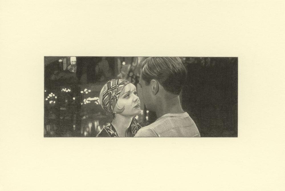 """""""Headscarf, Gatsby 2""""2014, matita su carta, 4.2 x 9.9 cm senza bordo e 10 x 14.8 cm con bordo"""