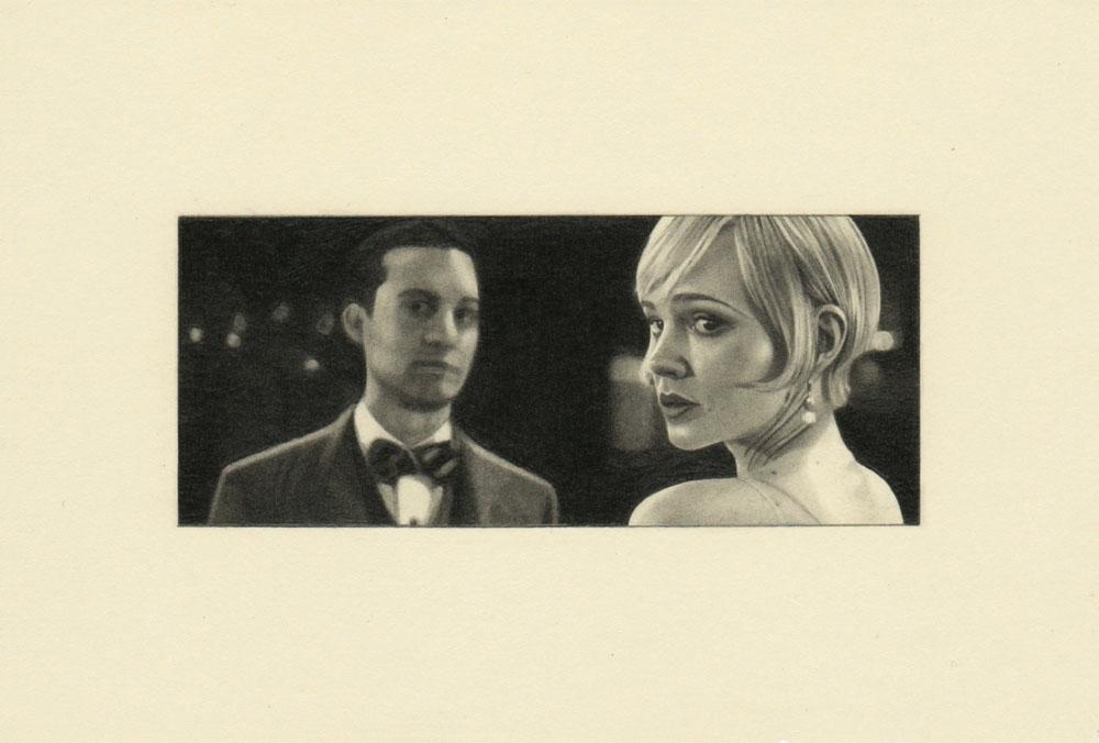 """""""Quiet, Gatsby 2"""" 2014, matita su carta, 4.2 x 9.9 cm senza bordo e 10 x 14.8 cm con bordo"""