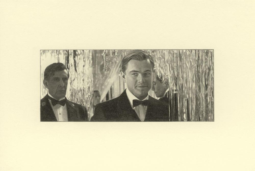 """""""Streamers, Gatsby 2"""" 2014, matita su carta, 4.2 x 9.9 cm senza bordo e 10 x 14.8 cm con bordo"""