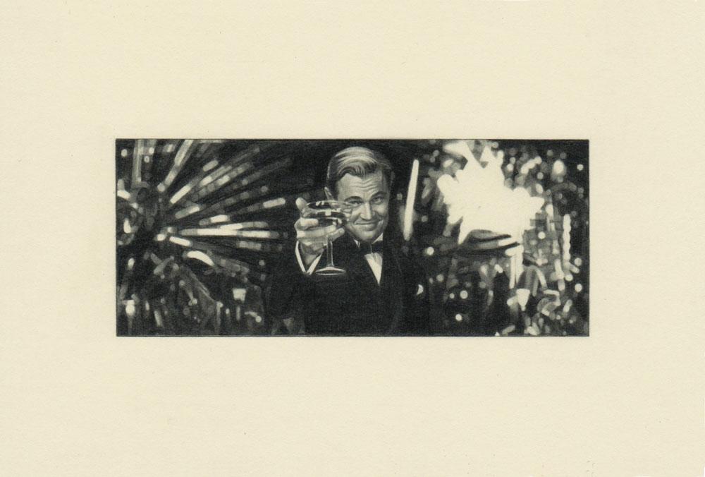 """""""Toast, Gatsby 2"""" 2014, matita su carta, 4.2 x 9.9 cm senza bordo e 10 x 14.8 cm con bordo"""