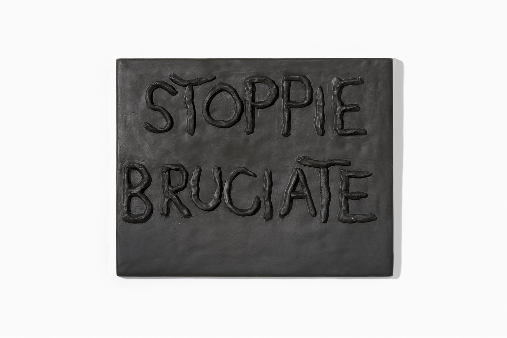 """Stoppie bruciate"" 2018, terracotta, 43 x 33 cm"