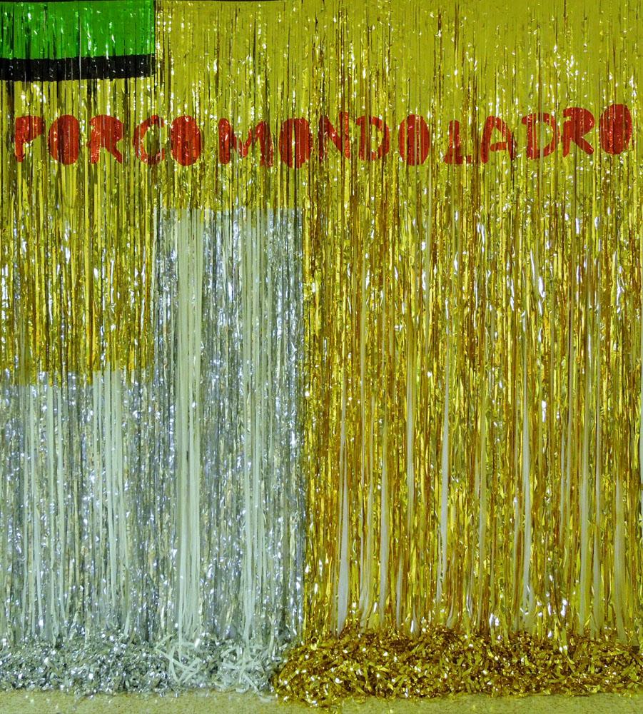 """Porco mondo cane"" 2015, mylar, 300 x 288 cm"
