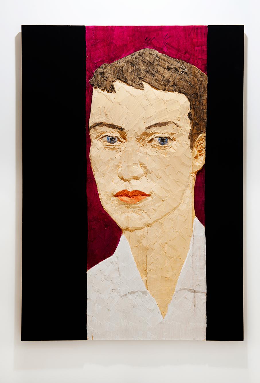 """""""Senza titolo"""" 2012, bassorilievo su legno wawa dipinto, 140 x 100 cm"""