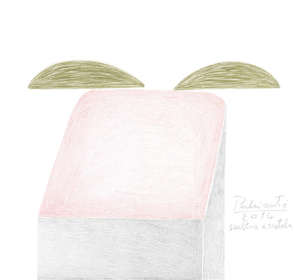 """""""Scultura e scatola"""" 2014, matita su carta 220g, 18 x 19 cm"""