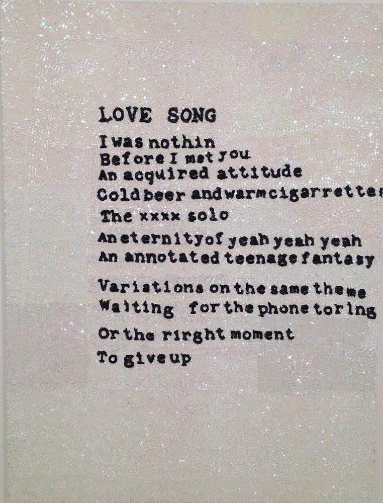 """Love song"" 2011-15, paillettes cucite a mano su tela, 200 x 150 cm"