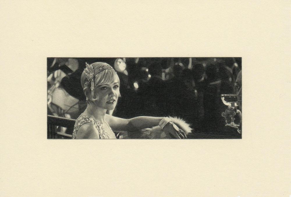 """A Daisy Fur, Gatsby 2"" 2014, matita su carta, 4.2 x 9.9 cm senza bordo e 10 x 14.8 cm con bordomatita su carta_4,2x9,9cm senza bordo e 10x14,8cm con bordo_2014"