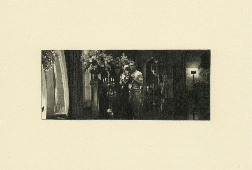 """""""Candelabra, Gatsby 2""""2014, matita su carta, 4.2 x 9.9 cm senza bordo e 10 x 14.8 cm con bordo"""