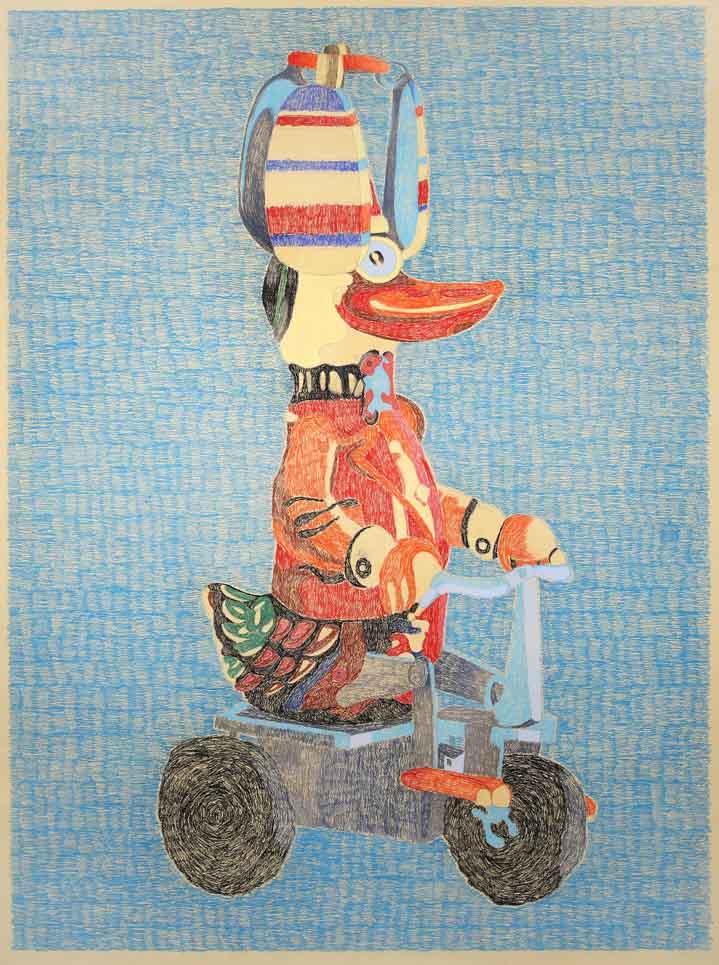 """Andavamo a sud"" 2007, matita su carta, 250 x 200 cm"