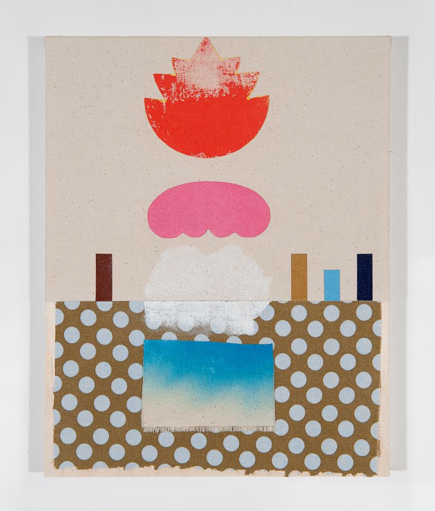 """""""Apok"""" 2011, collage di stoffa su tela, 27.5 x 35.5 cm"""