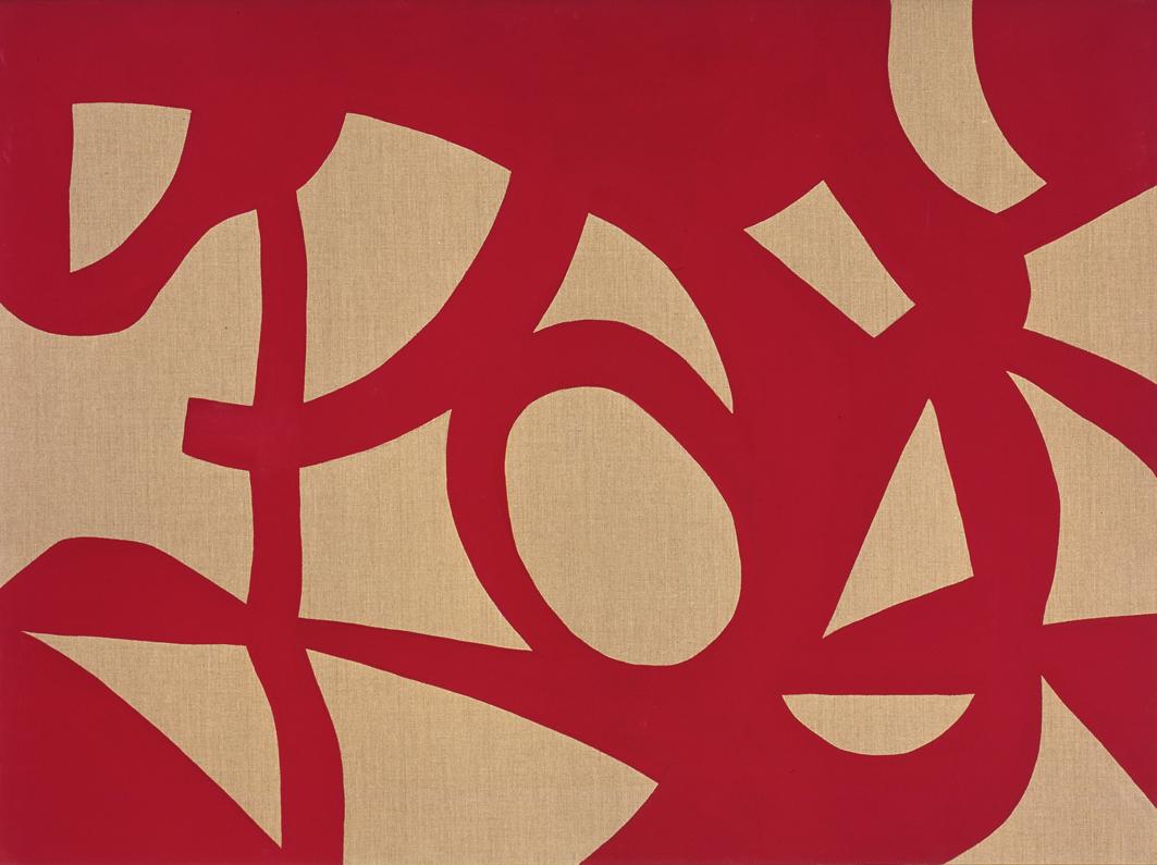 """""""Azione con cerchio"""" 2006, vinilico su tela grezza, 120 x 160 cm"""