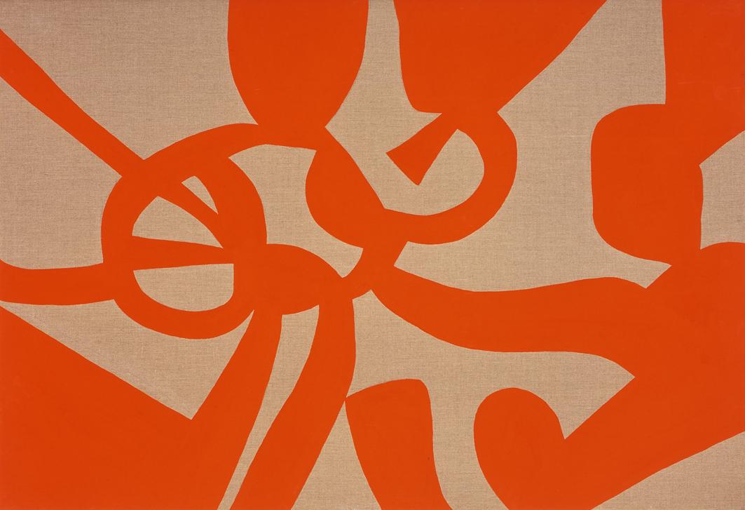 """""""Baleno rosso"""" 2006, vinilico su tela grezza, 110 x 160 cm"""
