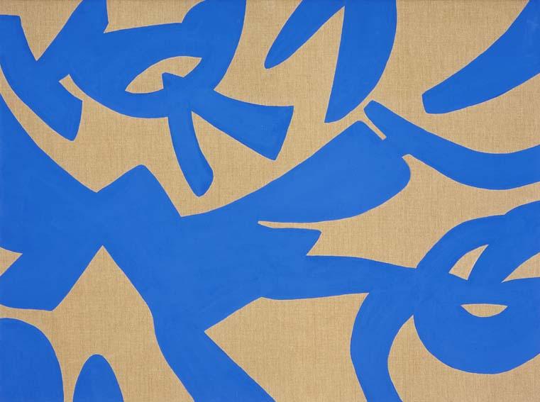 """""""Blu volante"""" 2007, vinilico su tela grezza, 120 x 170 cm"""