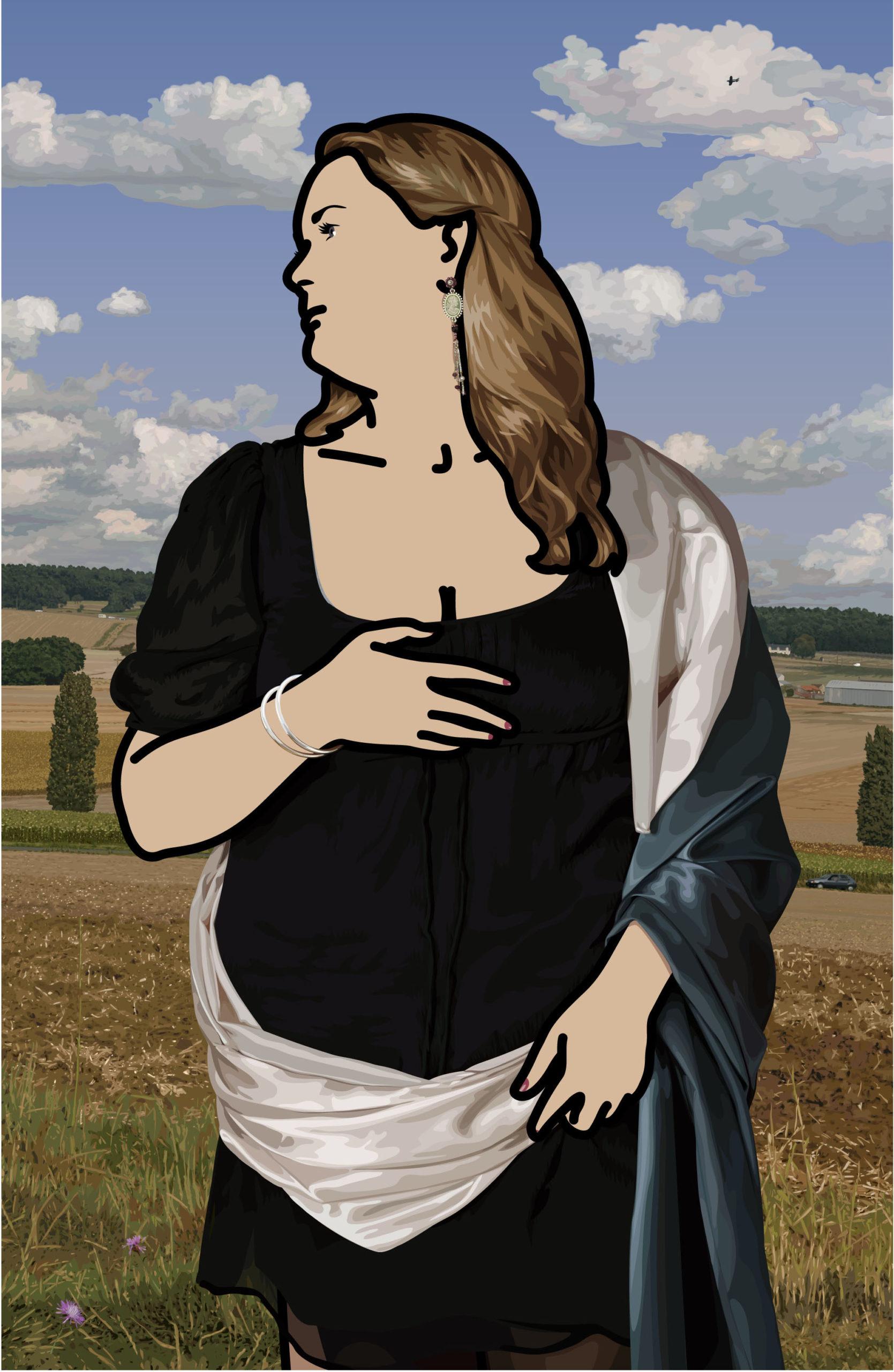 """""""Clare with landscape"""" 2008, inchiostro su tela, 135.2 x 88.1 cm"""