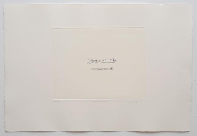 """""""Conejo que levita"""" 2007, grafite su carta"""