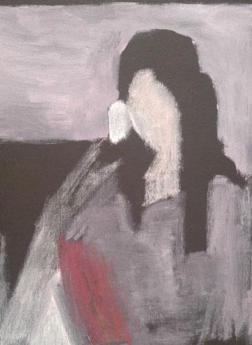 """""""Después Selfies (Amalia II)"""" 2017, olio su tela, 22.5 x 30.5 cm"""