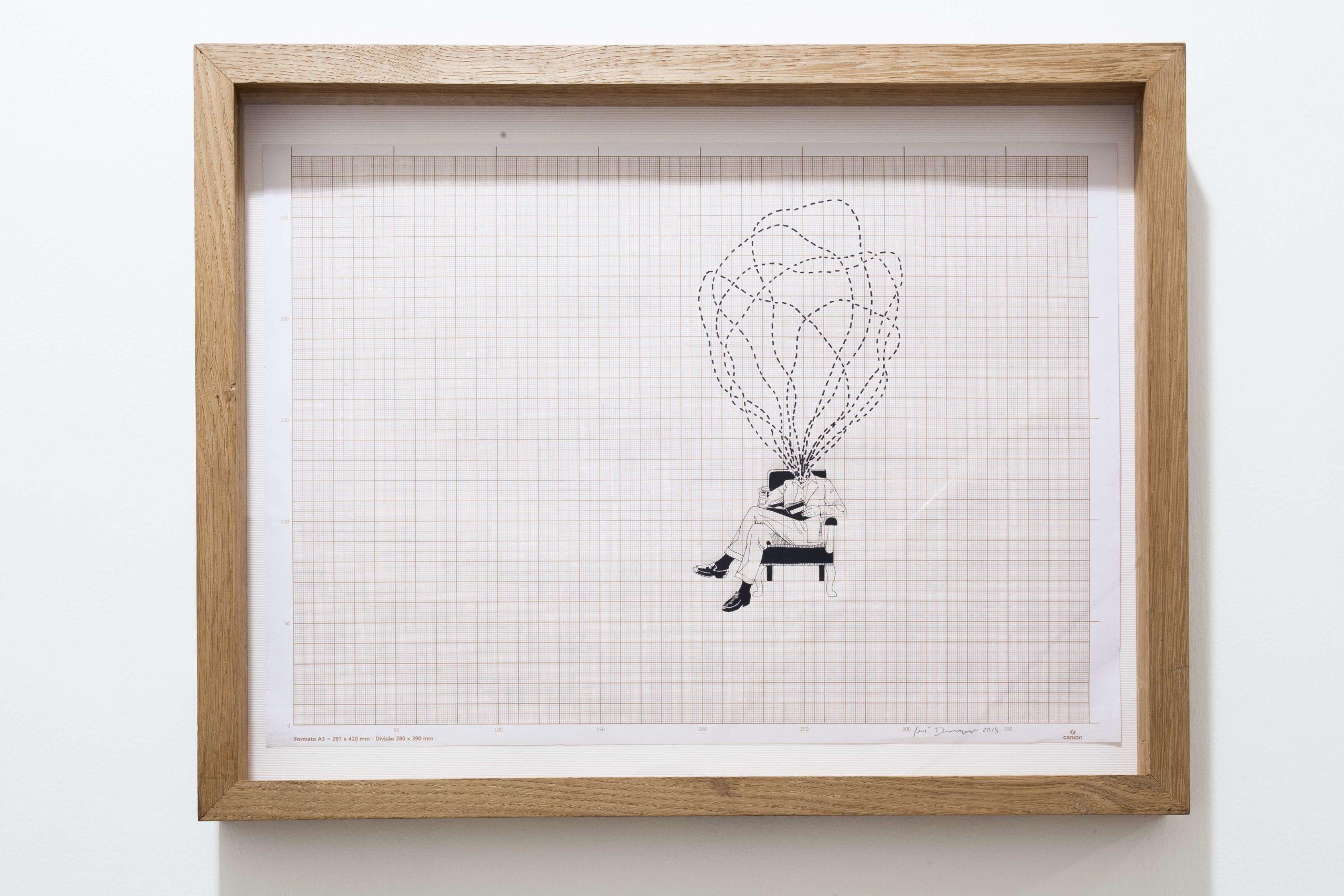 """Senza titolo"" 2015, china e letraset su carta millimetrata, 30 x 40 cm"