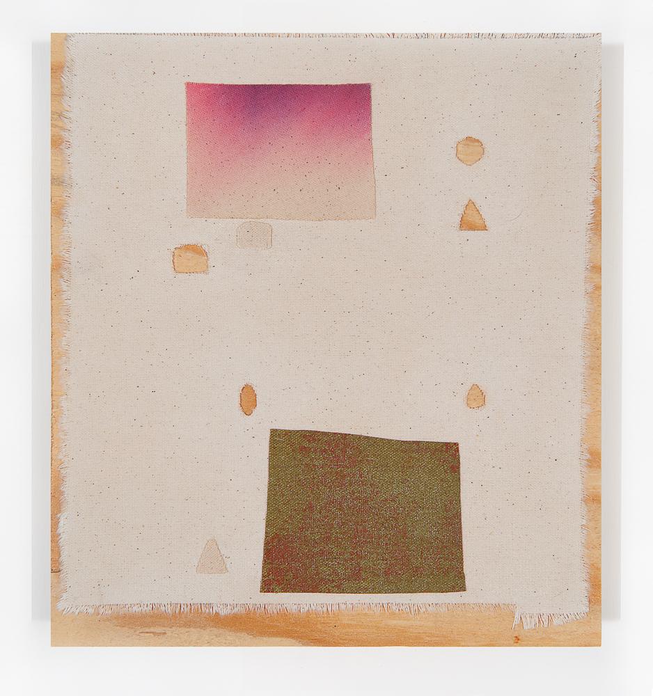 """""""Fayd"""" 2011, collage di stoffa su legno, 25.5 x 28.5 cm"""