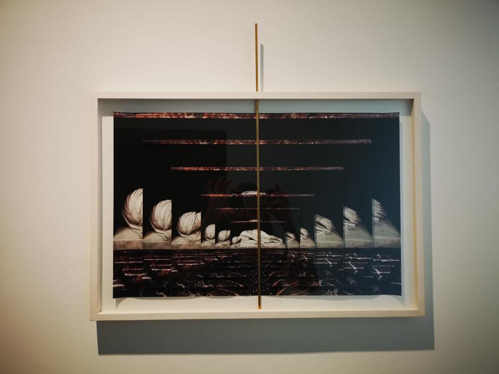 """""""Fotocascata Santa Cecilia"""" 2018, foto collage, ottone, 57 x 50 cm"""