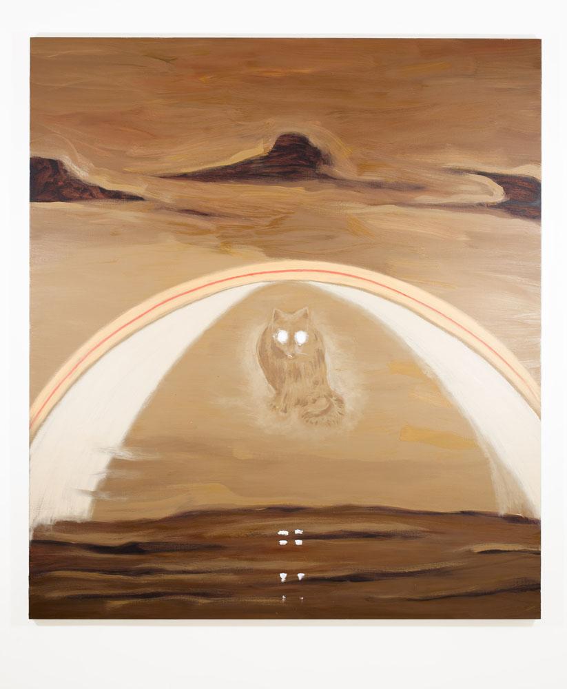 """""""Gatto Scureggia"""" 2012, olio su tela, 185 x 210 cm"""