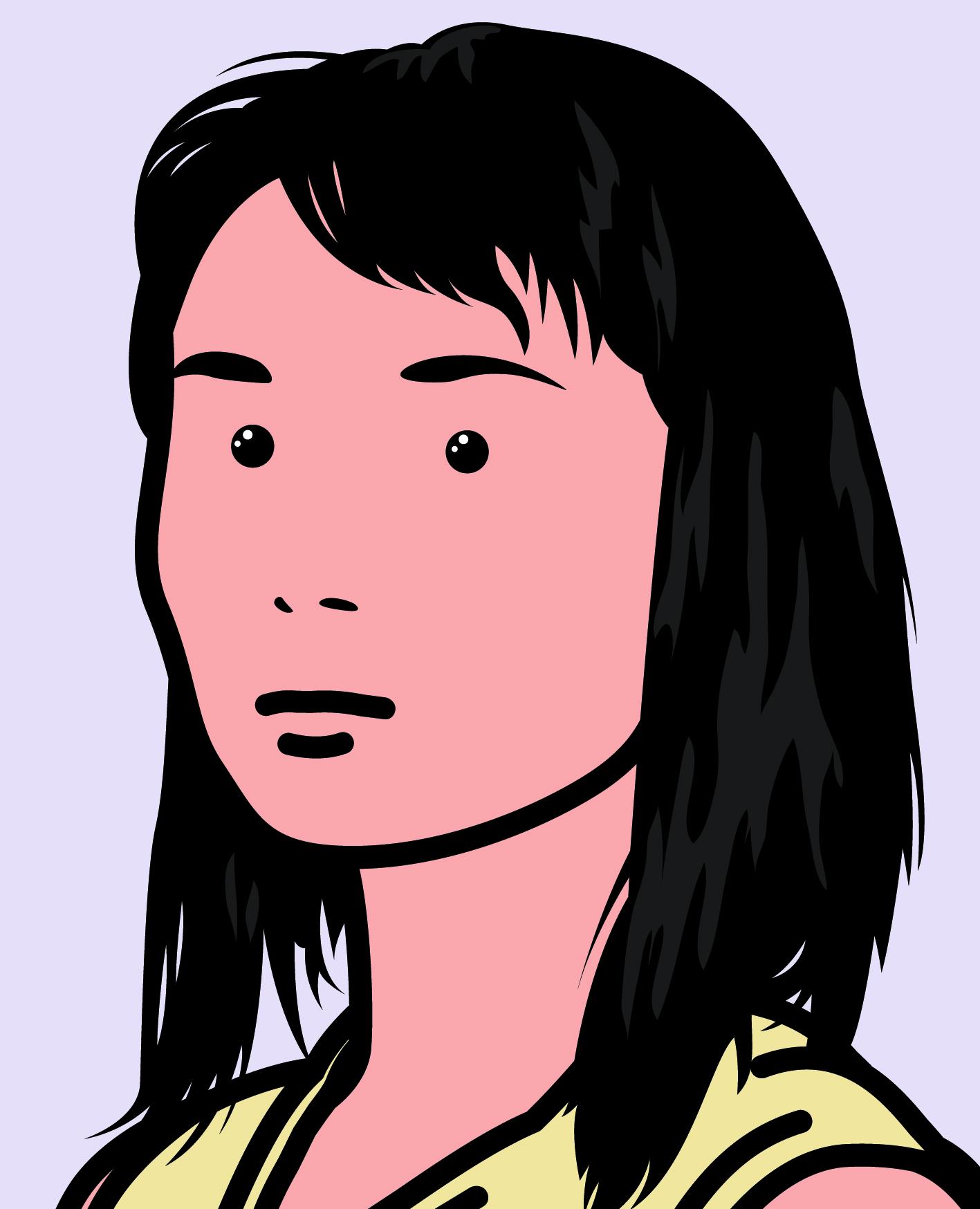 """Hijiri actress 2"" 2005, vinile su telaio, 192 x 155.6 cm"