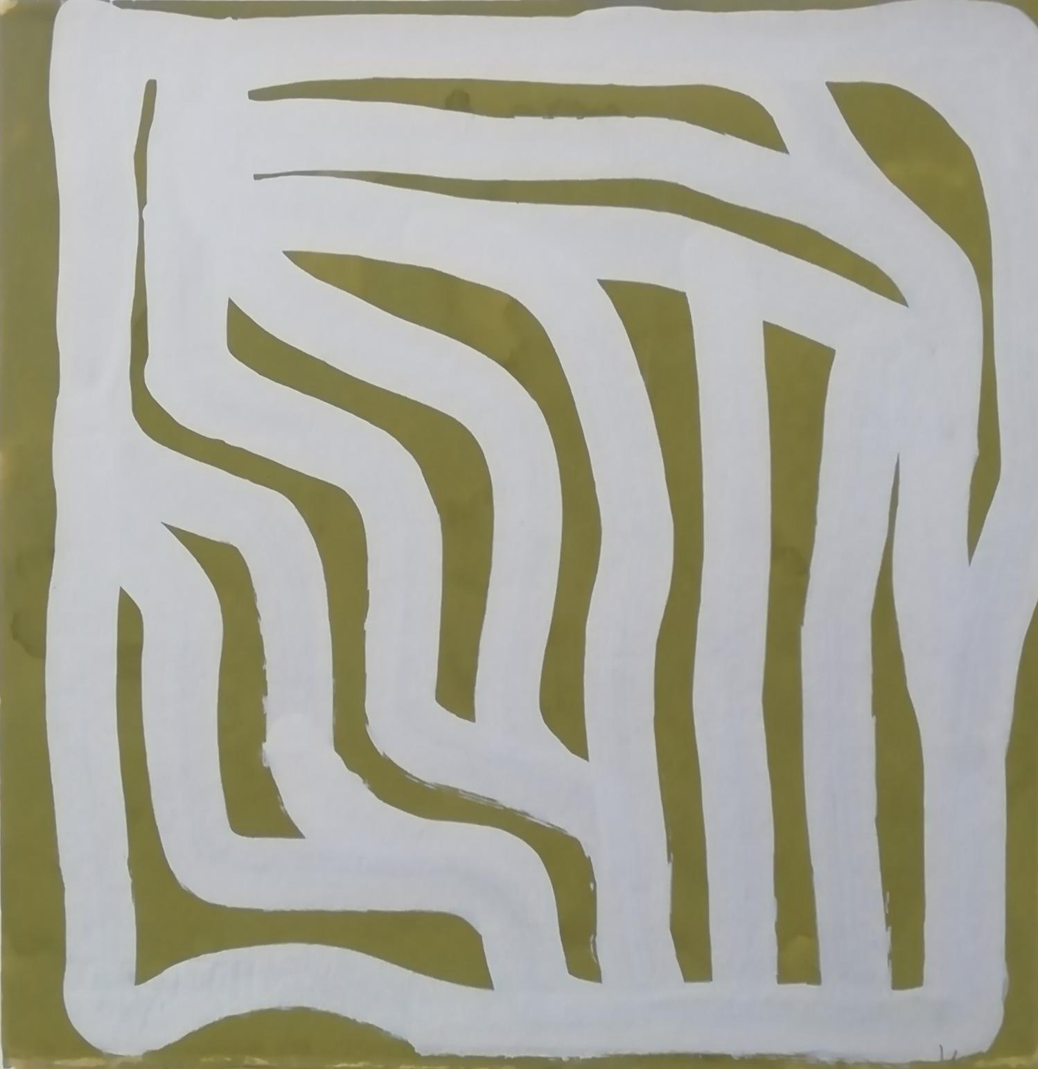 """Parallel curves"" 1990, gouache su carta, 28.5 x 28.5 cm"