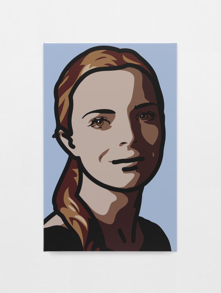 """""""Lily eyes straight head right smile"""" 2013, serigrafia su tavola di legno, 35.2 x 22.9 x 3 cm"""